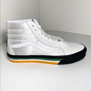 VANS Sk8-Hi, White Leather, Men Size 9.5
